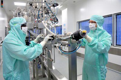 Influenssarokotteiden tuotantoa