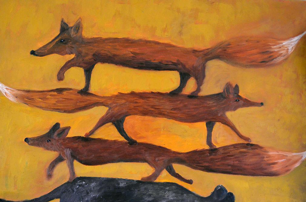 Anu Pensolan maalauksissa eläimet ovat saaneet suuren roolin.