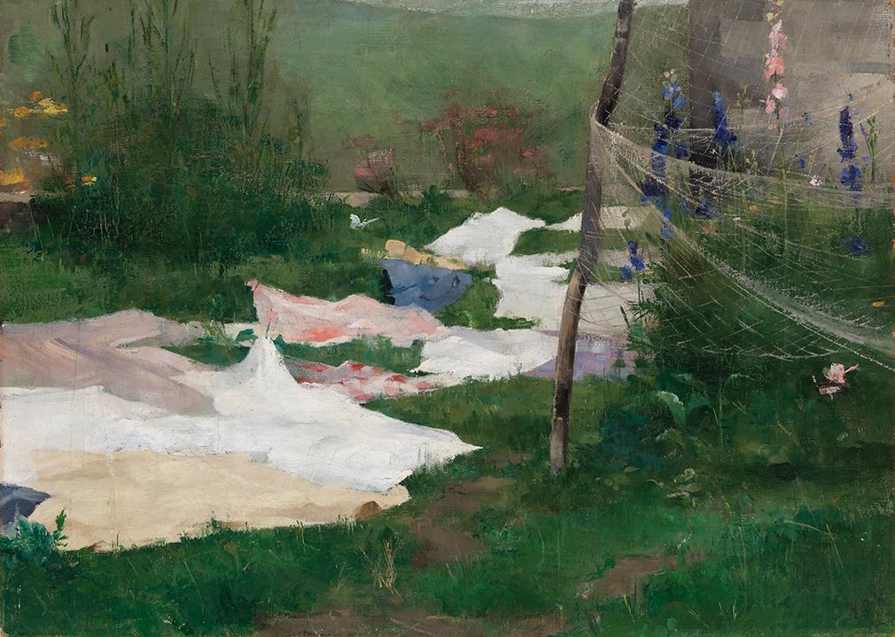 Helene Schjerfbeck: Vaatteita kuivumassa (1883). Kansallisgalleria / Ateneumin taidemuseo. Kuva: Kansallisgalleria / Yehia Eweis.