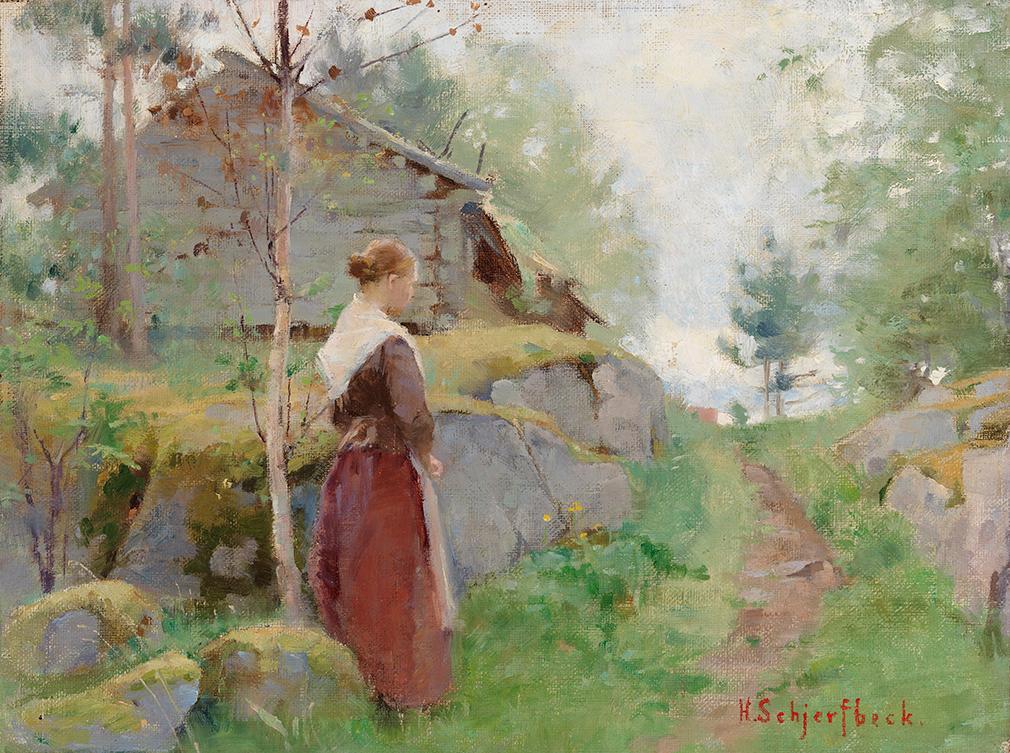 Helene Schjerfbeck: Tyttö Barösundista (1885–1890). Yksityiskokoelma. Kuva: Kansallisgalleria / Jenni Nurminen.