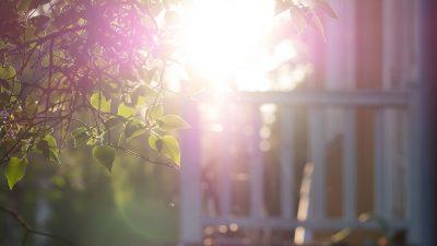aurinko paistaa kuistille