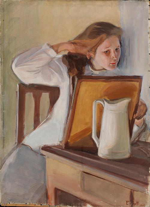 Magnus Enckell Hiuksiansa suoriva tyttö -maalaus