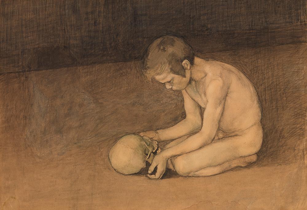 Magnus Enckell Poika ja pääkallo -maalaus